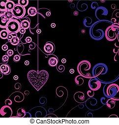 粉红色, 心, 黑色的背景, 植物群
