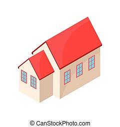 粉红色, 房子, 描述, 背景。, 矢量, model., 白色