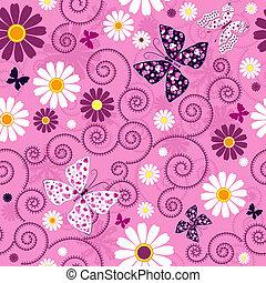 粉红色, 植物群, seamless, 模式