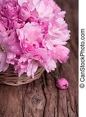 粉红色, 稻草, 葡萄收获期, 表面, 篮子, 花