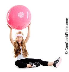 粉红色, pilates, 瑜伽, 体育馆, 球, 女孩, 孩子
