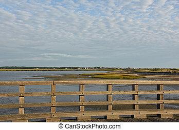 粉, ポイント, かなり, duxbury, 光景, 橋, 景色
