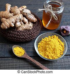 粉, 化粧品, 食物, ウコン, 蜂蜜, 健康