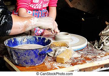 粘土, ワークショップ, 陶工, 形づくること, 子供