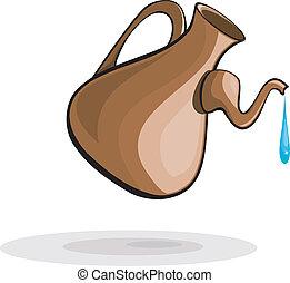 粘土, 水差し, そして, a, 水の落下