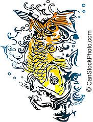 精力的, fish, 水泳, 中に, ∥, 海洋
