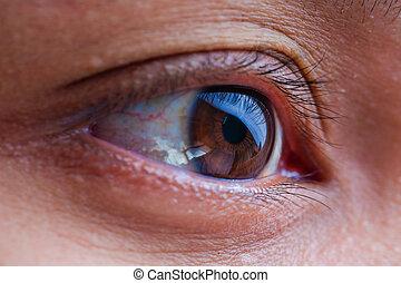 精密, 生活, 女性の目, ターゲット, 健康, concept., マクロ, 概念, アジア, 未来, まっすぐに, ビジョン, 光景