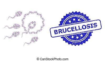 精液, モザイク, brucellosis, アイコン, textured, recursion, 媒精, watermark