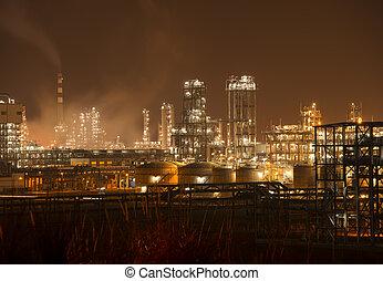 精炼厂, 工业的植物, 带, 工业, 锅炉, 夜间