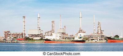 精煉厂, 全景, 植物, 油, 油輪