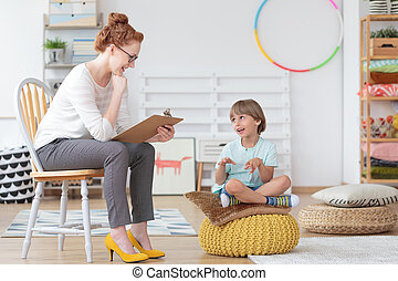 精神療法, 子供, セッション, カウンセラー, の間