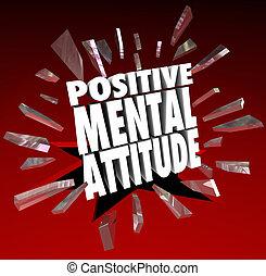 精神, ポジティブ, 壊れなさい, ガラス, 態度, によって, 言葉, 3d