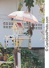 精神, 家, 古い, タイ, 傘, 白