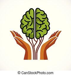 精神, 脳, 形, 成長, 人間, 売りに出しなさい, ロゴ, design., 心理学, 概念, 解剖, 健康, heyday, 人格, individuality., 手, アイコン, 守ること, 木, ベクトル, 緑, ∥あるいは∥