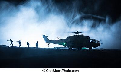 精選する, シルエット, 始める, 軍, 強くされた, 焦点を合わせなさい。, 対立, 砂漠, フィート数, backlit., zone., 夜, 準備ができた, ヘリコプター, ハエ, 霧が濃い, 飾られる