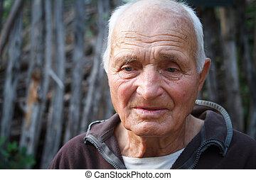 精選する, 編み枝細工, に対して, 肖像画, 古い, クローズアップ, 背景, 非常に, 人, フォーカス
