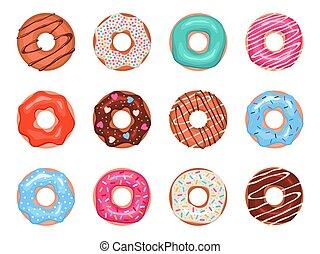 糕點, 咖啡館, 鮮艷, 多福餅, 裝飾, 給上釉, 多樣混合, 集合, 菜單, 覆蓋, 矢量, 交付箱子, donuts., 孩子, 設計, 甜食