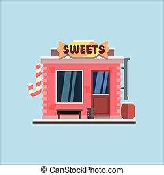 糖果商店, front., 矢量, 插圖