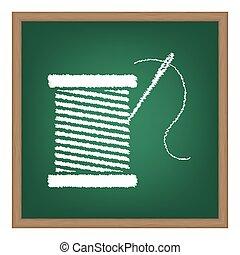 糸, ∥で∥, 針, 印, illustration., 白, チョーク, 効果, 上に, 緑, 学校, board.