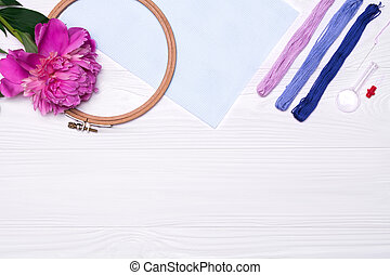 糸, シャクヤク, 交差点, 花, 道具, stitch., キャンバス, たが, magnifier
