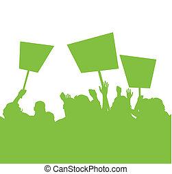 糾察隊員, 插圖, 綠色, 針對, 背景, 抗議, 污染