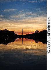紀念碑, 華盛頓, 傍晚, dc