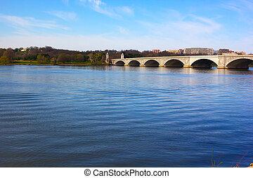 紀念館, usa., arlington, 看法, 華盛頓特區, 波托馬克河河, 橋梁, bank.