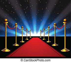 紅的地毯, 到, the, 星