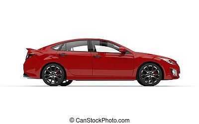 紅的小汽車, -, 側視圖