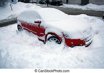紅的小汽車, 在, 雪