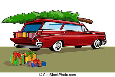 紅的小汽車, 站貨車, 聖誕節