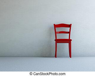 紅的椅子, 在, 空的房間