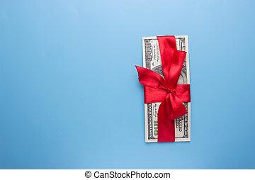 紅的緞帶, 上, 束, 美元