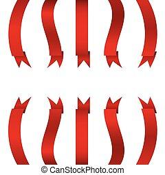 紅的緞帶, 垂直, 旗幟, 集合