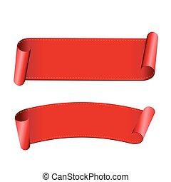 紅的緞帶, 矢量, 集合