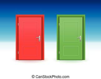 紅的門, 綠色的門