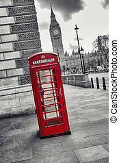 紅的電話亭, 以及, 大本鐘, 在, 倫敦, 街道, 英國