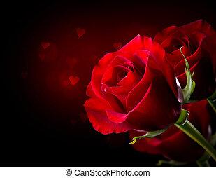 紅色的玫瑰, 花, 被隔离, 上, black., 街。情人的日