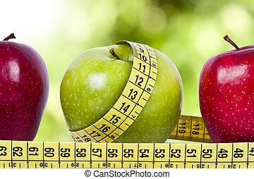 紅色的苹果, 以及, 綠色, 由于, the, 測量磁帶, 概念, ......的, 健康的飲食