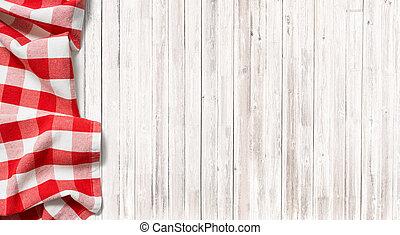紅色, 交替變換, 野餐, 桌布, 上, 微妙, 木頭, 桌子