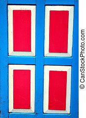 紅色, 以及藍色, 木制的門