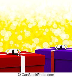 紅色, 以及藍色, 禮物盒, 由于, 黃色, bokeh, 背景, 如, 禮物, 為, 他, 以及, 她