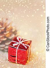 紅色, 以及, 黃金, 聖誕節, 裝飾, 由于, 模仿空間