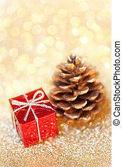 紅色, 以及, 黃金, 聖誕節, 裝飾, 由于, 模仿, space., 圣誕節裝飾, 上, 摘要, bokeh, 背景。, 歡樂的聖誕節, 以及, 新年快樂, card.