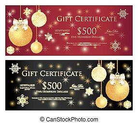 紅色, 以及, 黑色, 禮物證書, 由于, 黃金, 聖誕節, 球, 以及, 閃耀, 背景