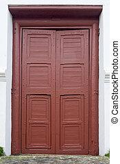 紅色, 入口, 門, 前面, 居住, 房子