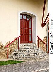 紅色, 入口, 門, 由于, 輪, 樓梯