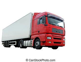 紅色, 卡車, 由于, 白色, 拖車, 在上方, 白色