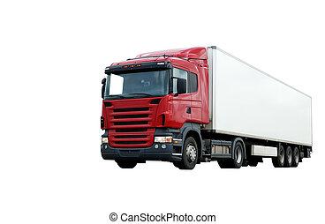 紅色, 卡車, 由于, 白色, 拖車, 在上方, 藍色的天空