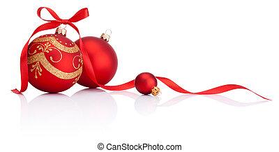 紅色, 圣誕節裝飾, 球, 由于, 帶子, 弓, 被隔离, 在懷特上, 背景